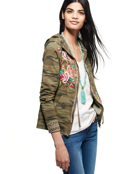 Dorana Embroidered Camo Hoodie, Plus Size