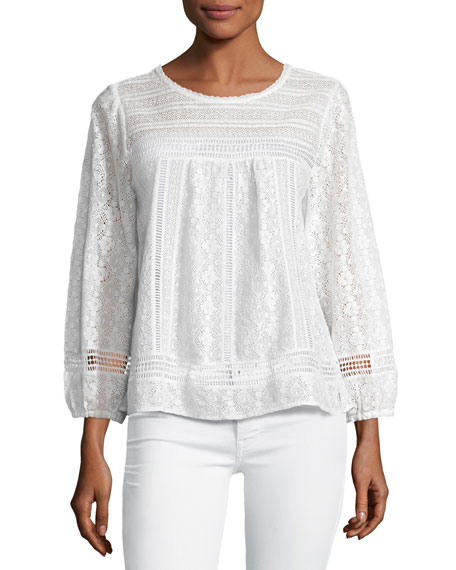 Joie Ganden Long-Sleeve Lace Top, White