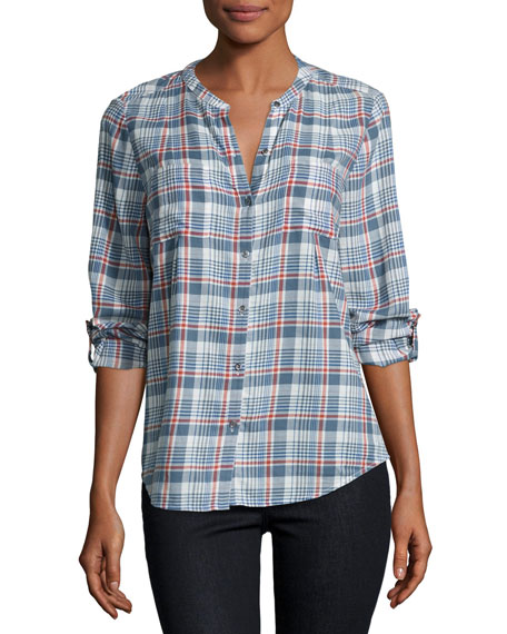 Aleta Plaid Collarless Shirt, Blue