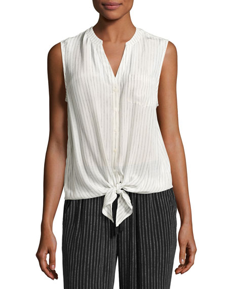 Joie Edalette Sleeveless Tie-Hem Top, White