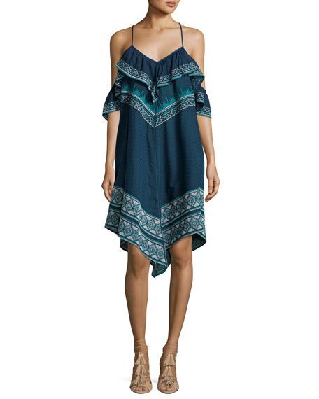 Tryb Deirdre Printed Cold-Shoulder Handkerchief-Hem Dress, Blue