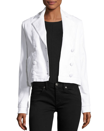 Double-Breasted Denim Crop Jacket, Blanc
