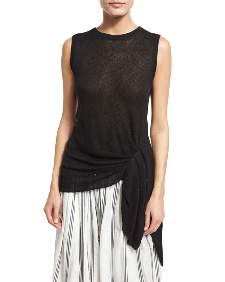 Paillette-Embellished Tie-Waist Top, Black