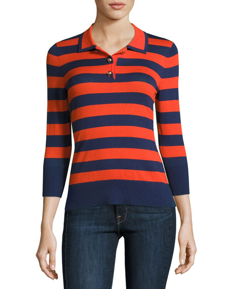 FRAME Rugby-Stripe Polo Sweater, Navy/Tomato