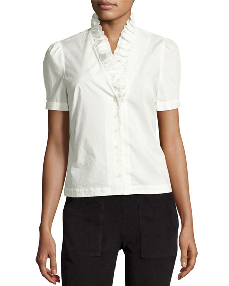 FRAME Ruffle-Neck Short-Sleeve Blouse, Blanc