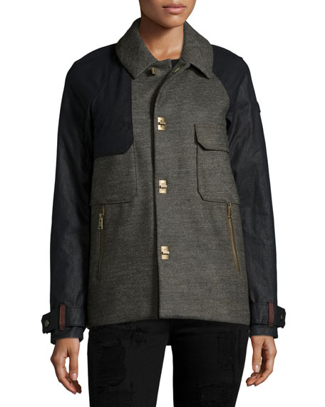 Alywin Short Two-Tone Wool Trench Coat