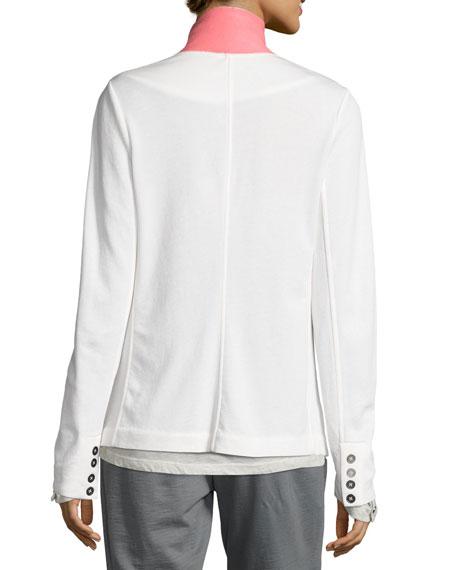 City Cotton Contrast Collar Blazer, White/Pink