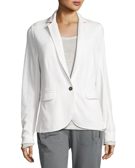 City Cotton Contrast Collar Blazer, White/Pink