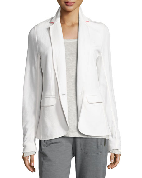 Grey State City Cotton Contrast Collar Blazer, White/Pink