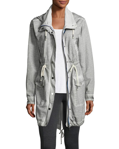 Grey State Snap-Front Hooded Anorak Jacket, Josie Ribbed