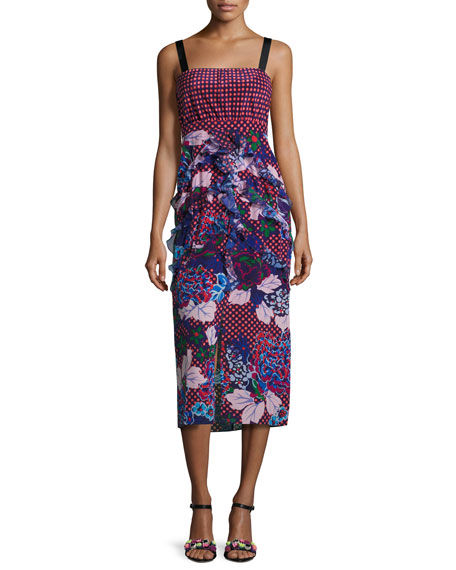 Saloni Dana Floral-Print Dotted Sleeveless Midi Dress,