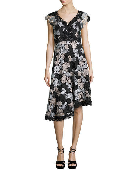 Nanette Lepore Cap-Sleeve Asymmetric Floral Lace Dress,