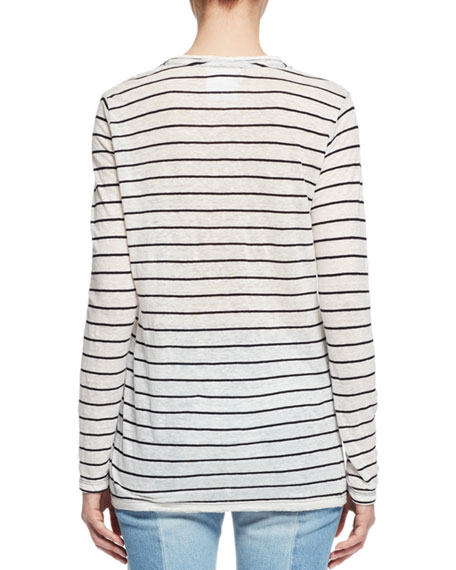 Aaron Long-Sleeve Striped Tee, Ivory