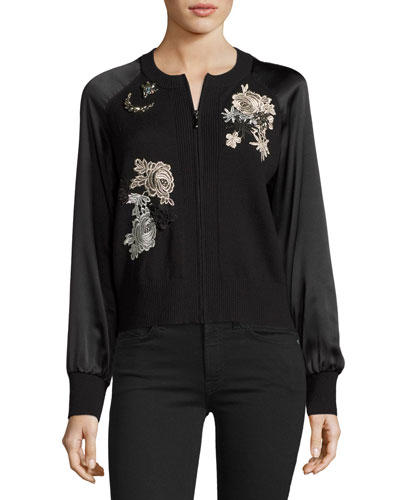 Jeweled Embroidered Wool Bomber Jacket, Black