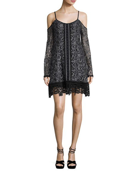 Nanette Lepore Cold-Shoulder Embroidered Lace Mini Dress,