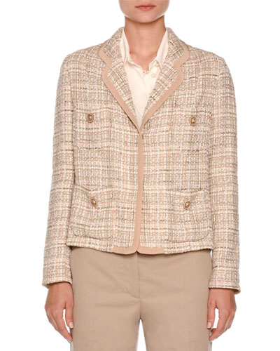 Tweed Four-Pocket Jacket, Taupe Cheap
