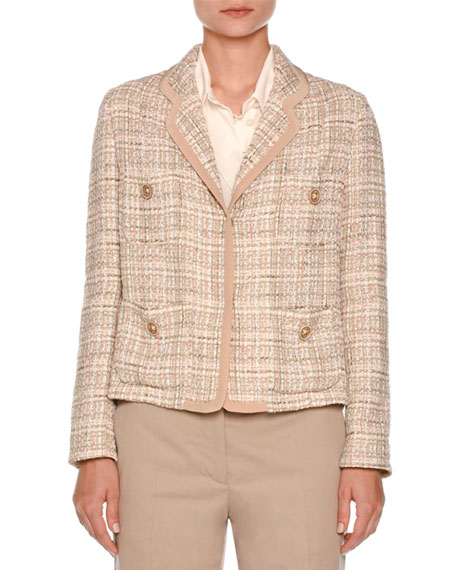 Tweed Four-Pocket Jacket, Taupe