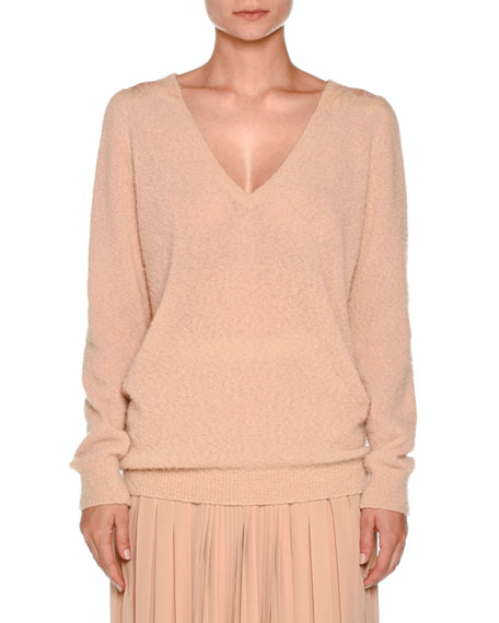 Agnona Lace-Yoke V-Neck Boucle Sweater, Taupe