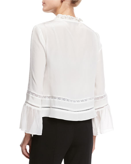 Long-Sleeve Embroidered Silk Blouse, White