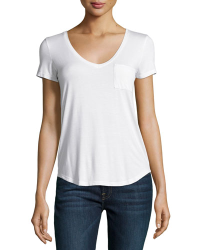 PAIGE Lynnea Pocket Tee, White