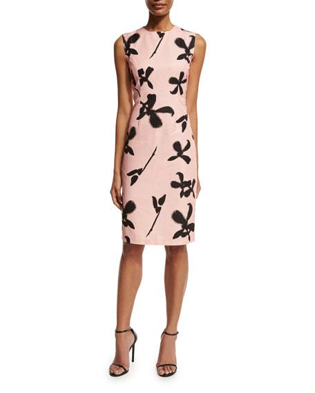 Sachin & Babi Sleeveless Floral Faille Sheath Dress,