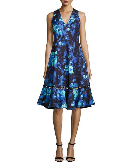 Sachin & Babi Sleeveless Abstract Floral A-Line Dress,