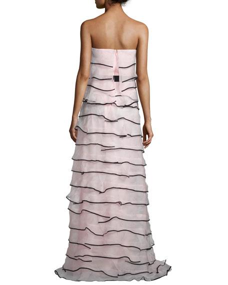 Tiered Silk Organza Strapless Gown, Light Pink