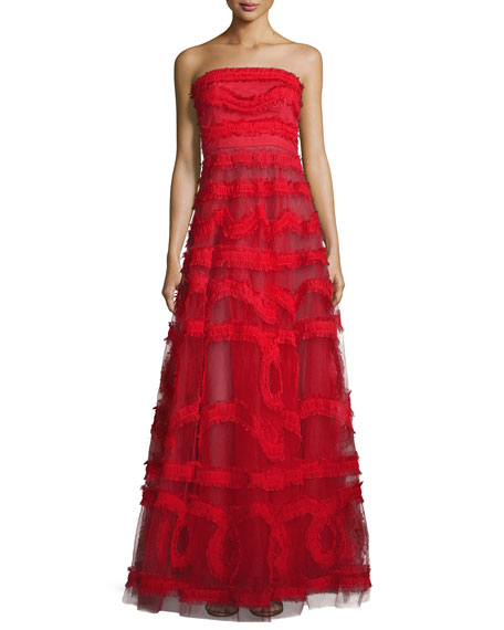 Sachin & Babi Strapless Embroidered Tulle Ball Gown,