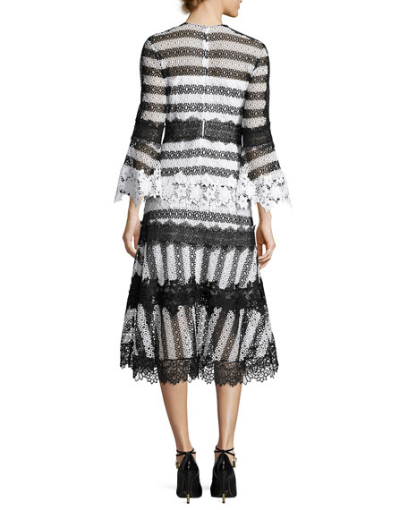 Striped Eyelet Lace Midi Dress, Black/White