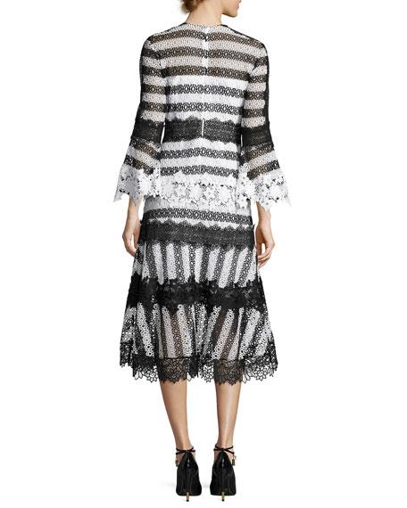 Striped Eyelet Lace Midi Dress, Black/White