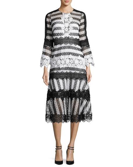 Sachin & Babi Striped Eyelet Lace Midi Dress,