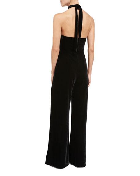 Velvet Halter Jumpsuit, Black