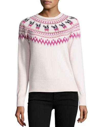 Elion Merry Woofmas Fair Isle Sweater, Ivory