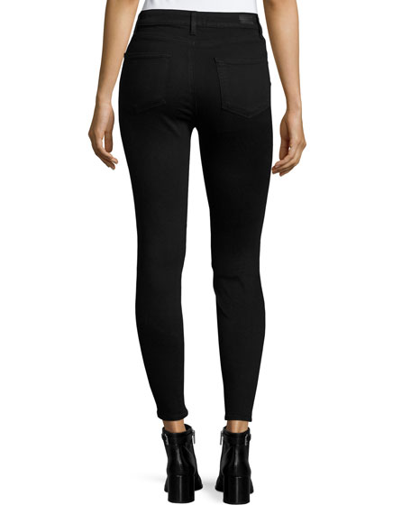 Paige Edgemont Ultra-Skinny High-Rise Ankle Jeans, Black Shadow