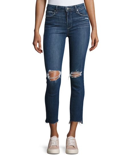Paige Hoxton Stagger-Hem Ankle Peg Jeans, Deedee