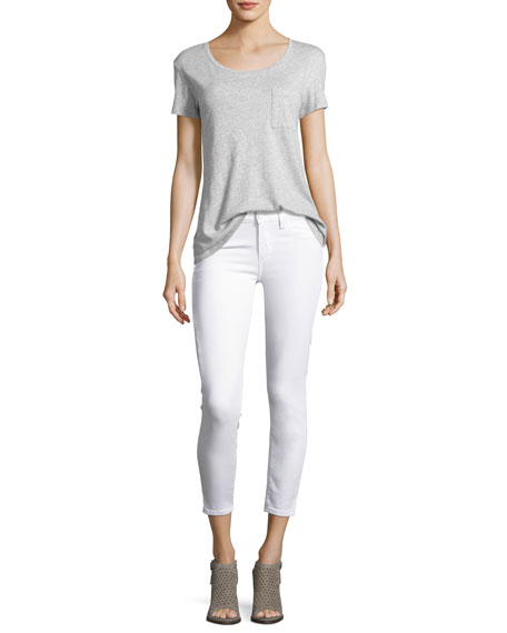 Paige Verdugo Cropped Skinny Jeans w/Side Slits, White