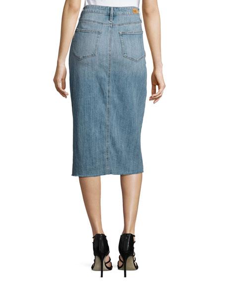 Leanne Slit-Front Denim Midi Skirt, Indigo
