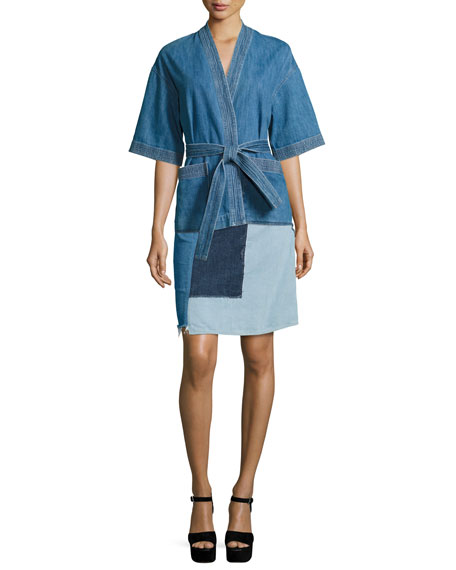 Turo Patchwork Denim A-Line Skirt, Blue