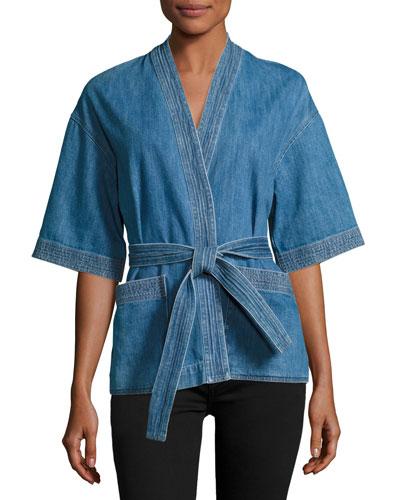 Finn Denim Kimono Top, Blue