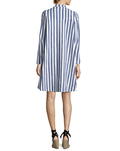 Tove Striped Shirtdress, Blue/White