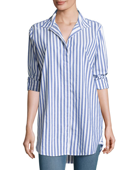 MiH Oversized Striped Cotton Shirt, Blue/White