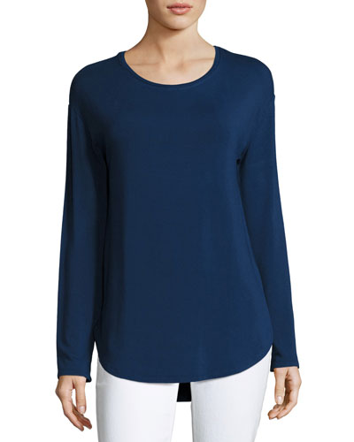 Long-Sleeve Crewneck Curved-Hem Pullover, Indigo