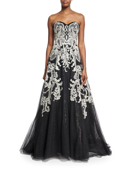 Liancarlo Strapless Filigree-Embroidered Gown, Black/White