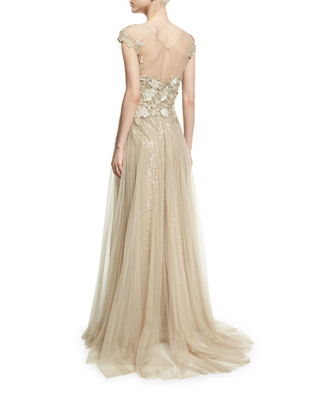 Lace-Bodice Metallic Illusion Gown, Oyster