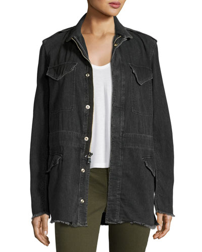 Nicolas Long Denim Field Jacket, Dark Gray