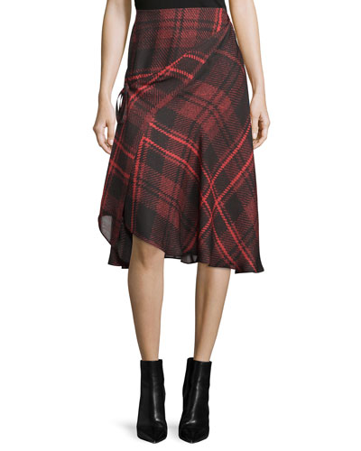 Tied Tartan Plaid Skirt, Red