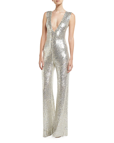 Naeem Khan Sequined Sleeveless Jumpsuit Silver Neiman