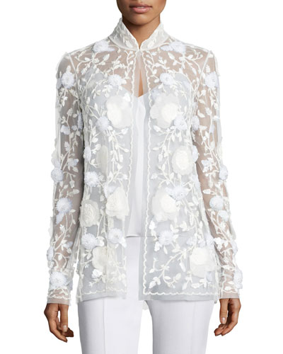 Sequined Mesh Evening Jacket, White