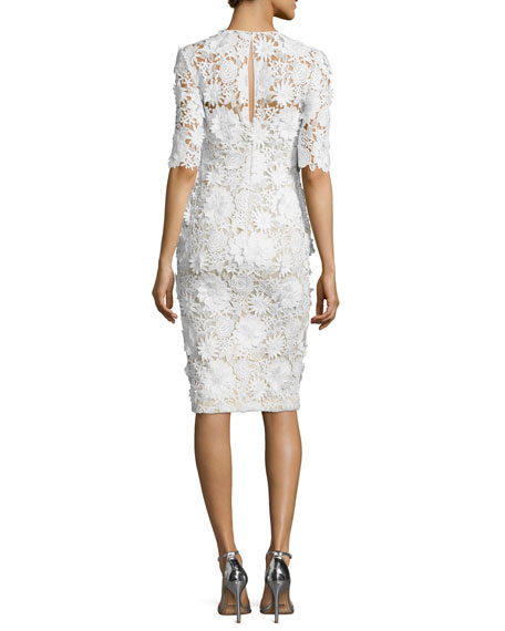 Lace Half-Sleeve Sheath Cocktail Dress, White