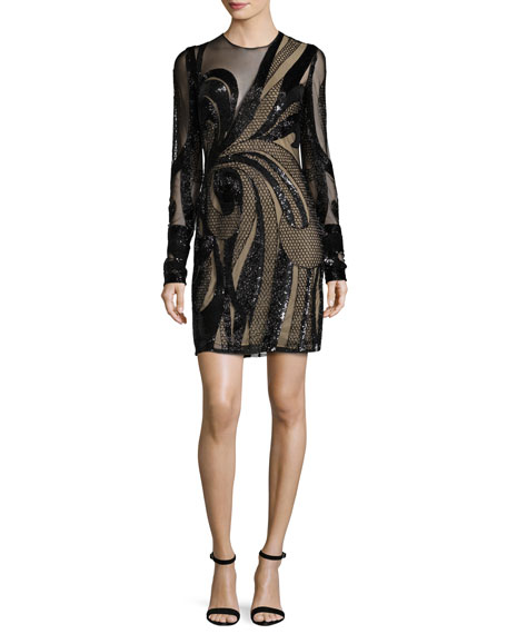 Naeem Khan Long-Sleeve Sequined Illusion Cocktail Dress, Black